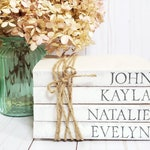 Stamped Book Set with Family Names - Mother's Day Gift - Father's Day Gift - Paper Book Set - Farmhouse Stamped Books - Tiered Tray Decor