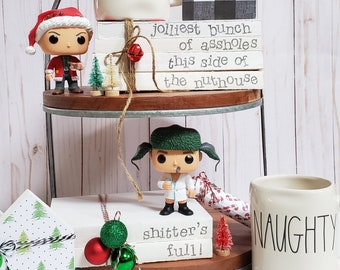 Jolliest Bunch of Assholes Stamped Books - Christmas Vacation Tiered Tray - Paper Book Set - Farmhouse Stamped Books - Tiered Tray Decor