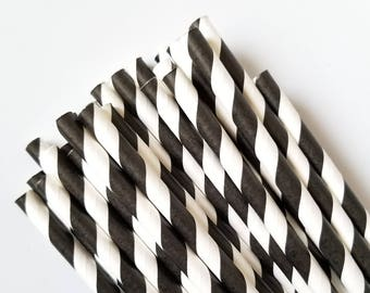 Black and White Stripe Paper Straws - Party Straws - Set of 25