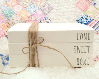 HOME SWEET HOME Farmhouse Stamped Book Set - Housewarming Gift - Paper Book Set - Tiered Tray Decor