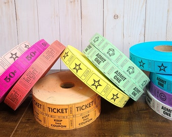 100 Colorful Circus Carnival Tickets - Pick Your Color! Circus Theme Party Decorations - Carnival Birthday Party Tickets