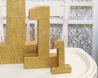 Mini Gold Glitter Numbers - Small Number 1 - First Birthday - Party Decor - Princess Party - Golden Birthday - Birthday Party Decor