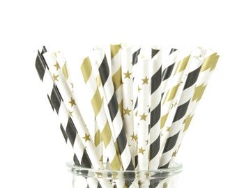 Black and Gold Star Straws - Set of 25 - Pop Fizz Clink - Twinkle Twinkle Party - Little Star - Shooting Star - Bachelorette Party Details