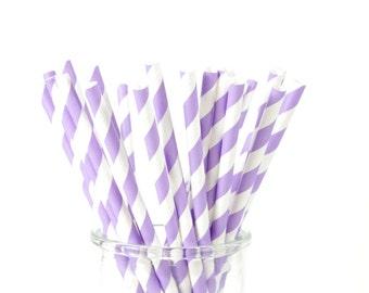 Light Purple Paper Straws - Set of 25