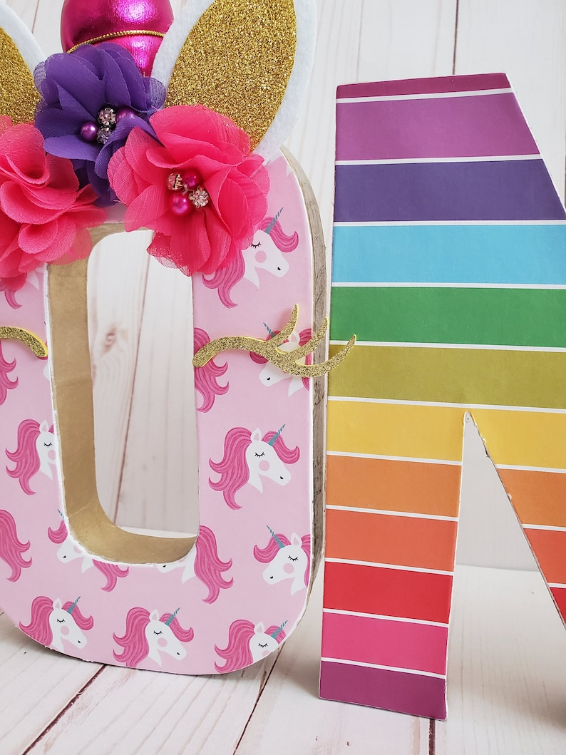 Big Number for Birthday Party Unicorn ONE Letters Magical Party Decor Rainbow Unicorn First Birthday