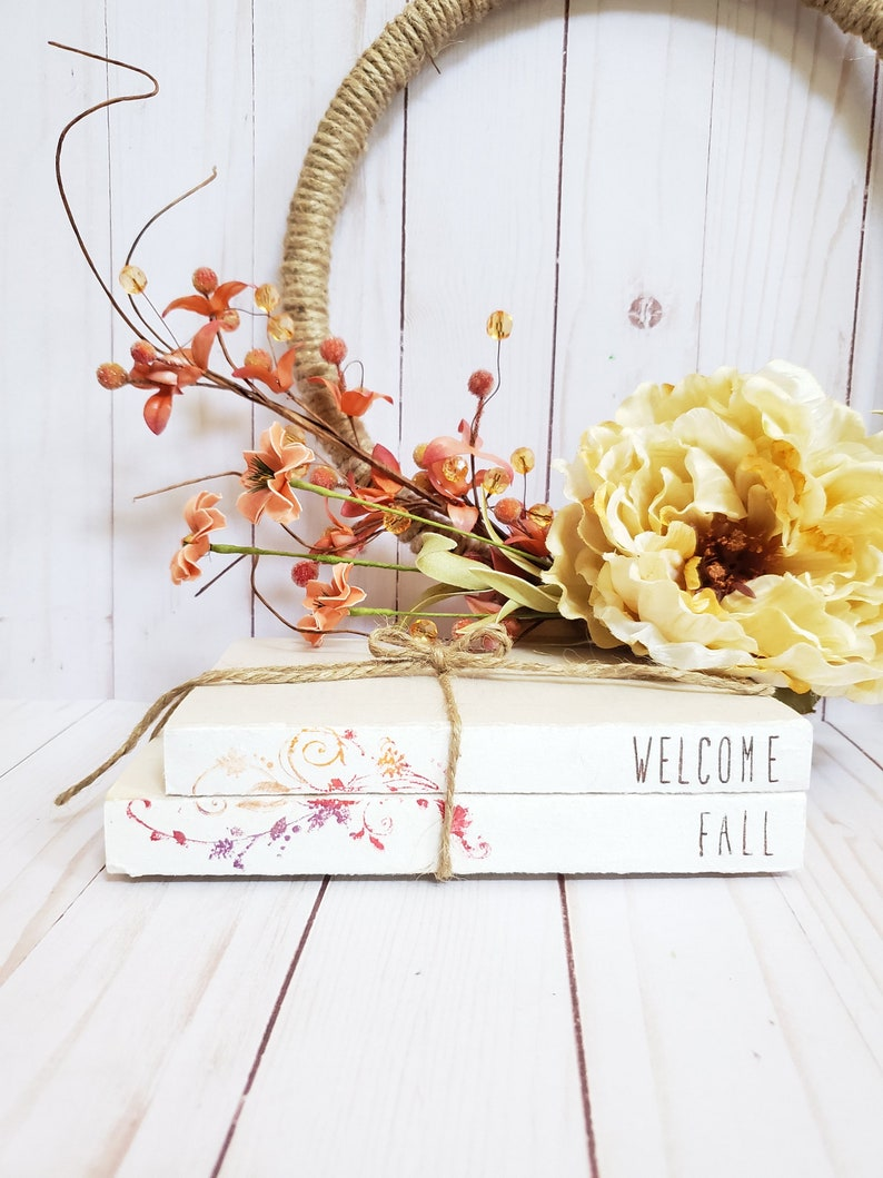 WELCOME FALL Stamped Book Set  Fall Leaf Rakers Society Decor image 0