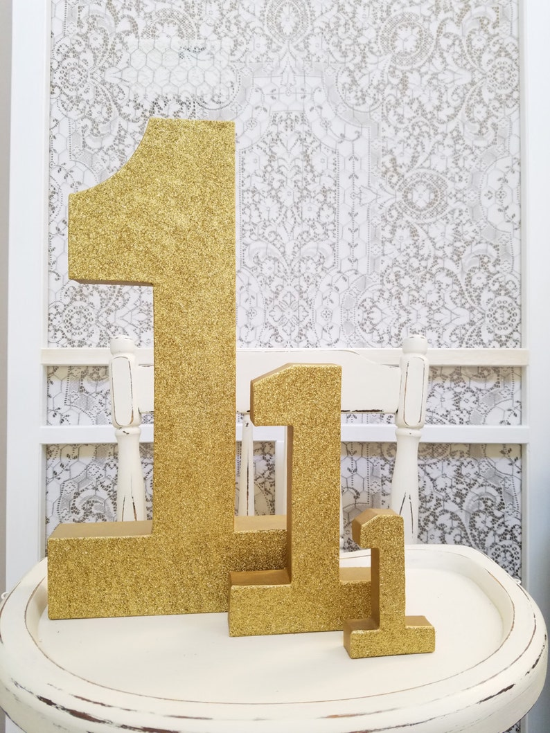 Mini Gold Glitter Numbers  Small Number 1  First Birthday  image 0