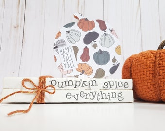 Pumpkin Spice Everything Fall Stamped Book Set - Paper Book Set - Farmhouse Stamped Books - Fall Tiered Tray Decor