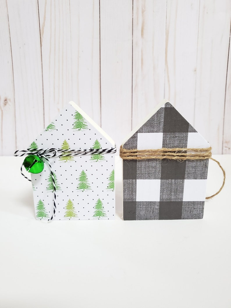 Christmas House for Tiered Tray  Farmhouse Decor  Tiered image 0