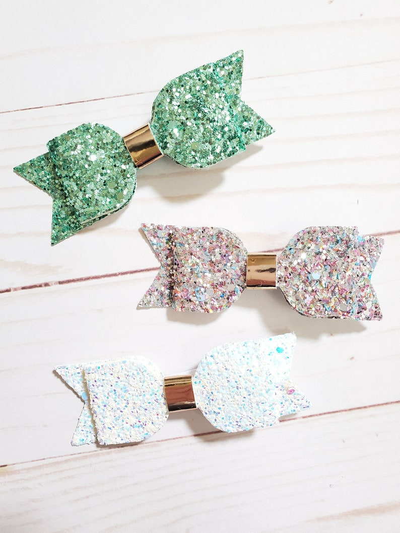 Set of 3 Glitter Hair Bows  Mint Green White and image 0