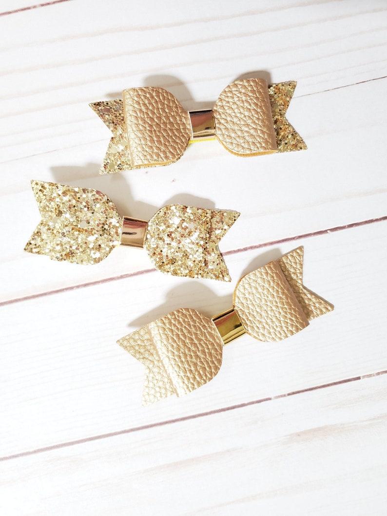 Set of 3 Gold Glitter Hair Bows  Christmas or Golden Birthday image 0