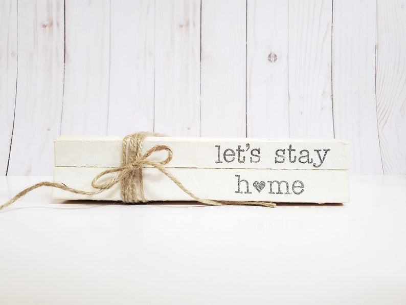 Let's Stay Home Stamped Books  Tiered Tray Decor  Paper image 0