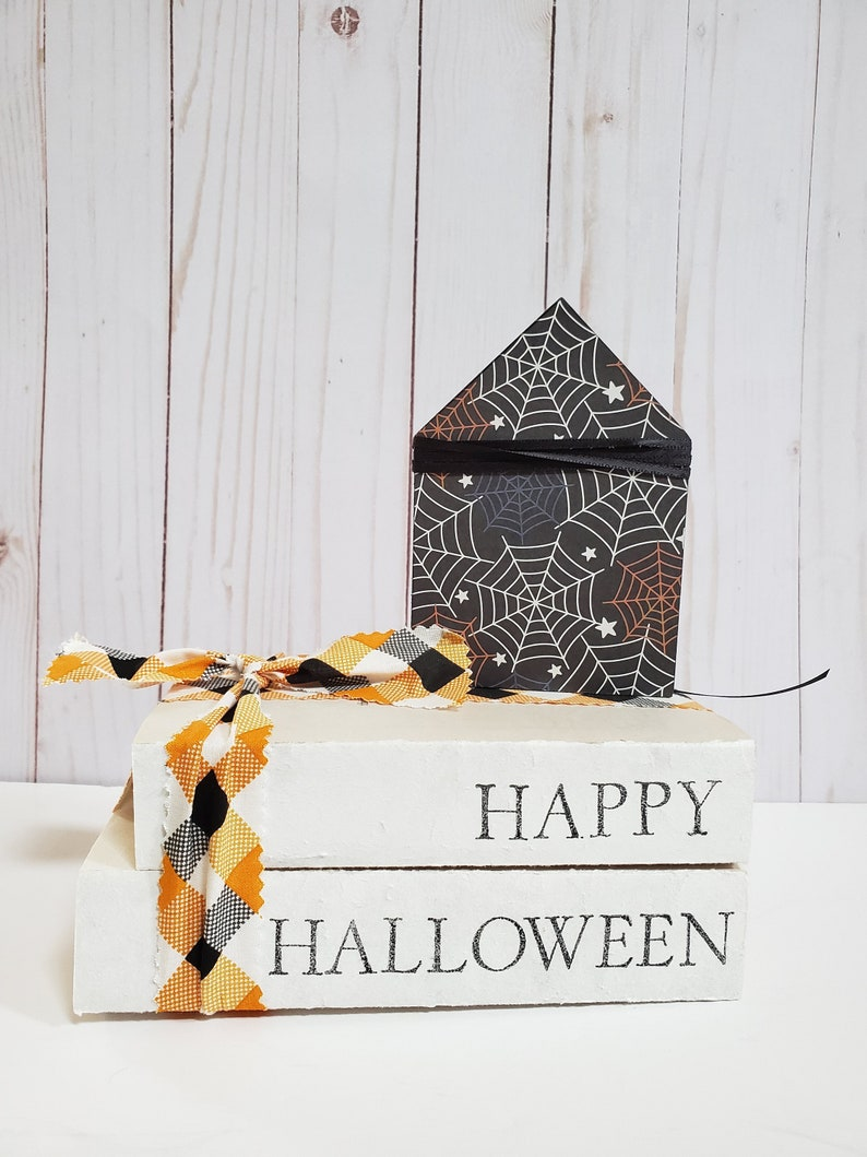 Happy Halloween Stamped Books with Buffalo Plaid Ribbon  image 0