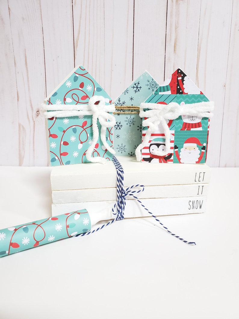 Let It Snow Stamped Books  Christmas Winter Tiered Tray  image 0