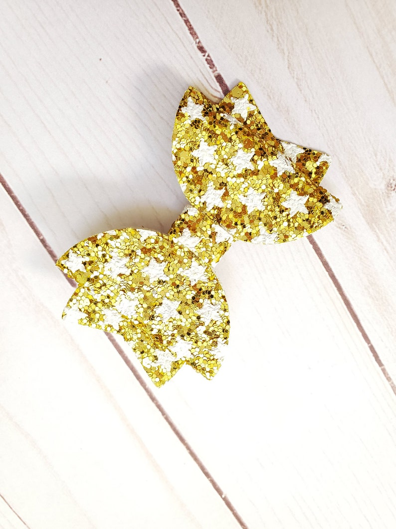 Twinkle Twinkle Little Star Hair Bow  Gold Glitter Hair Bow image 0