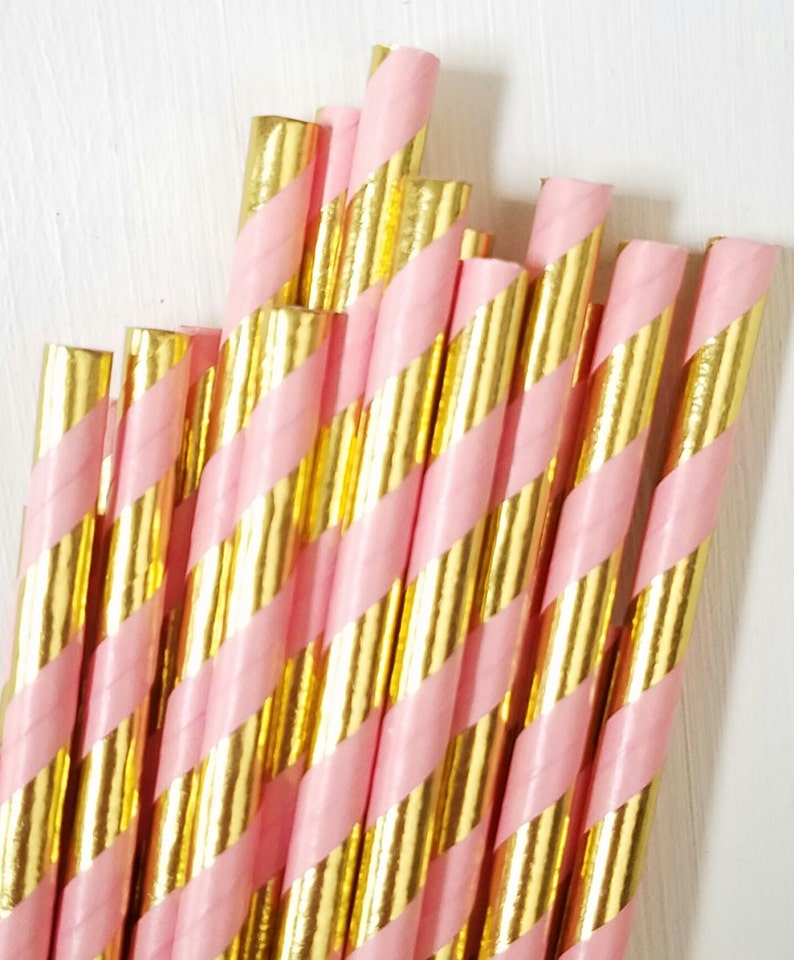 Coral Pink and Gold Paper Straws  Set of 25 Straws  Metallic image 0