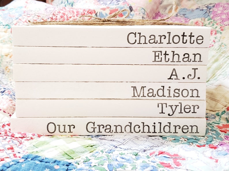 Stamped Book Set with Grandkids Names  Grandparent's Gift image 0