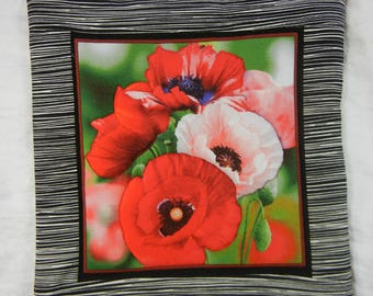 Quilted Cotton Fabric Trivet (1) Set #3 - Poppies