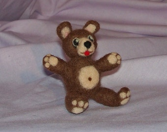 Brown Teddy Bear - Needle Felted Soft Sculpture - FREE SHIPPING to United States
