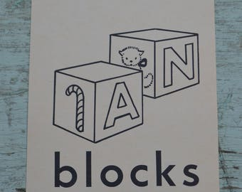 Vintage Ephemera Kids Nursery Play Flash Card Picture - Blocks