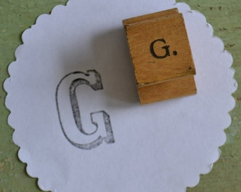F Vintage Classroom Initial Monogram Letter Wood Handled Rubber Mounted Stamp