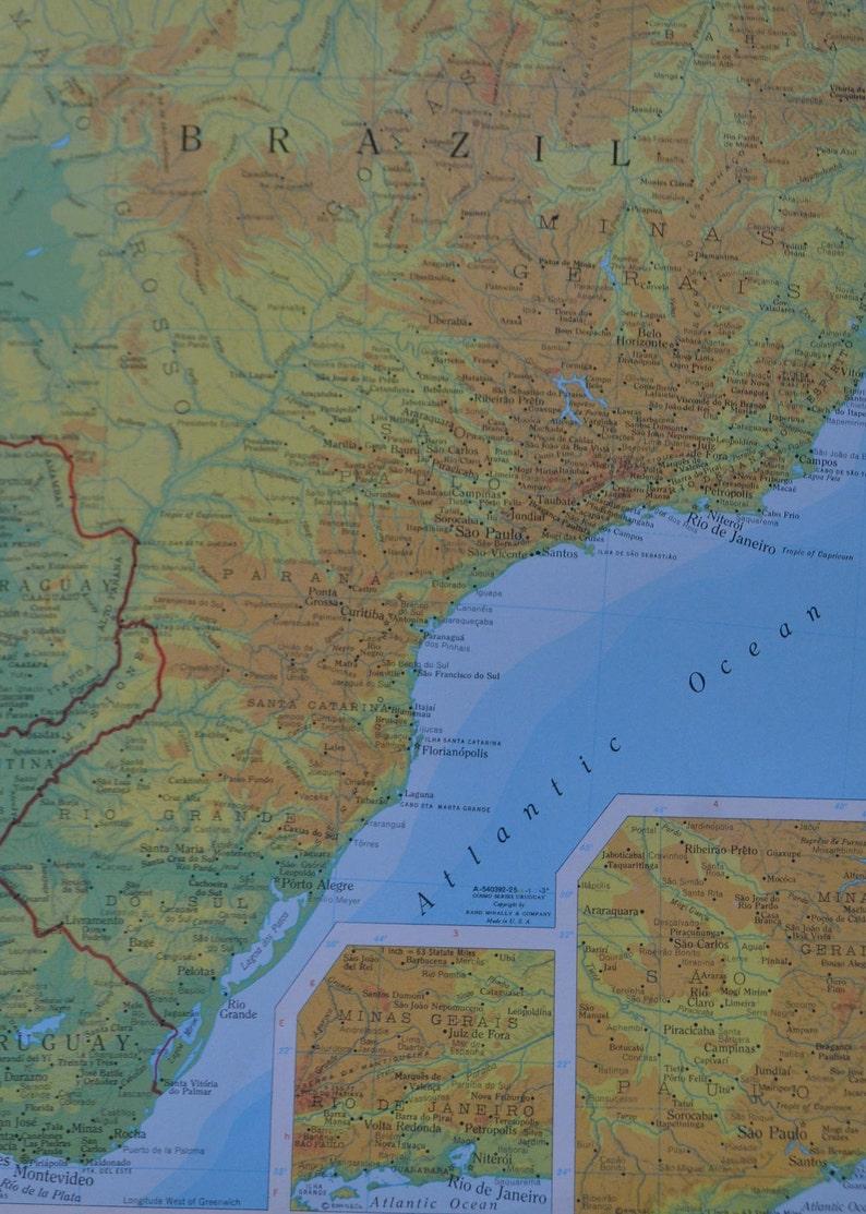 Uruguay Southern Brazil Latin America Map Print Vintage | Etsy
