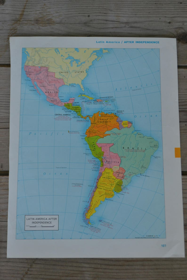 Latin America United States South America Print Map Vintage