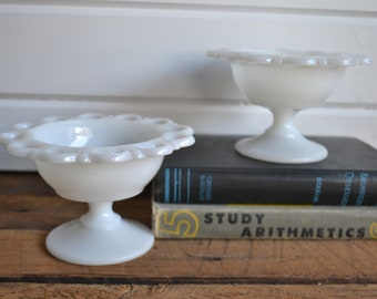 Vintage Farmhoues Shabby Chic White Milk Glass Eyelet Scalloped Candy Dish Jewelry Organizer on a Pedestal - Lot of 2