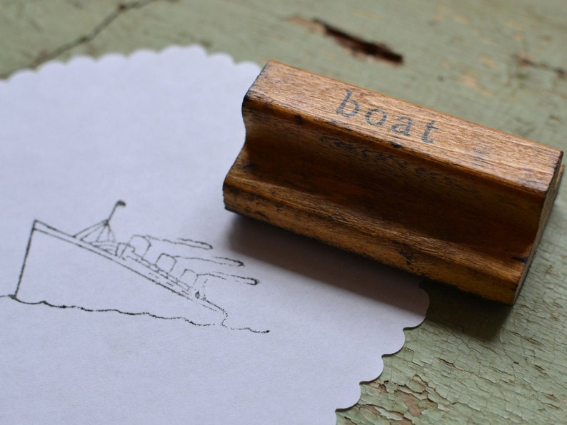 Vintage Educational Classroom Image Wood Handled Rubber Mounted Stamp Boat