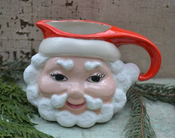 Vintage Retro Ceramic Christmas Holiday Santa St. Nick Creamer