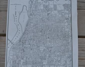 City of Memphis Tennessee Vintage Original Map Print