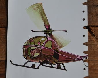 Peabody Vintage Articulation Helicopter Flashcard