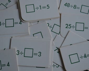 Vintage Division Miniature Math Flash Cards - Lot of 20