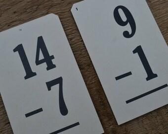Vintage Subtraction Math Flash Cards - Lot of 2