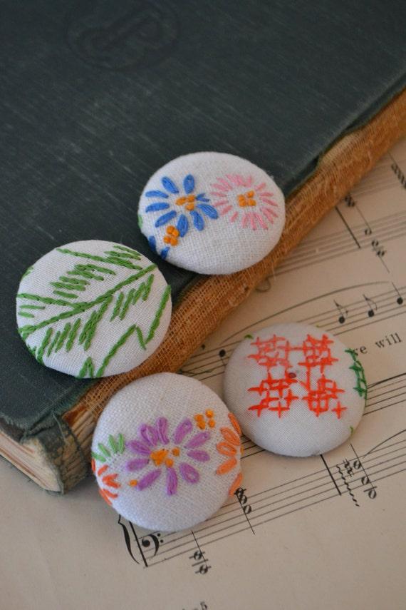 Vintage tissu Floral aimants Set de 4 - #5