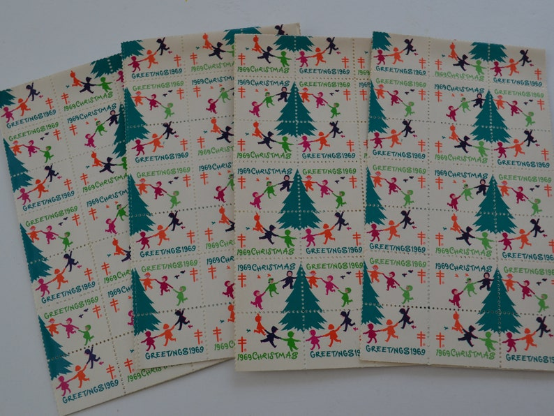 Vintage 1969 American Lung Association Christmas Holiday Fundraising Greeting Card Seals  Lot of 180