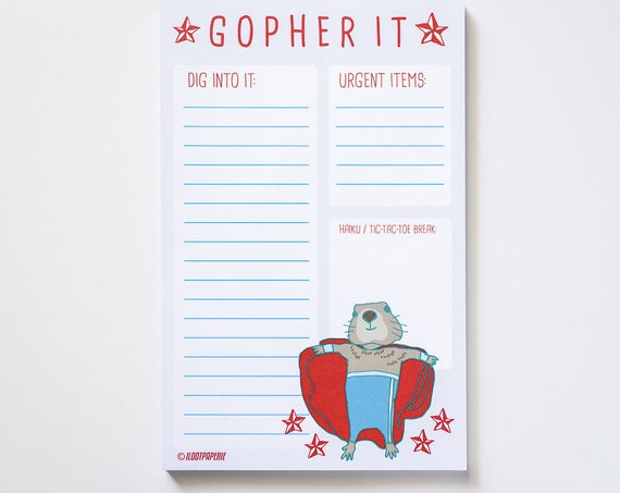 Gopher It! Nacho Libre Gopher Desk Notepad 50 Sheets