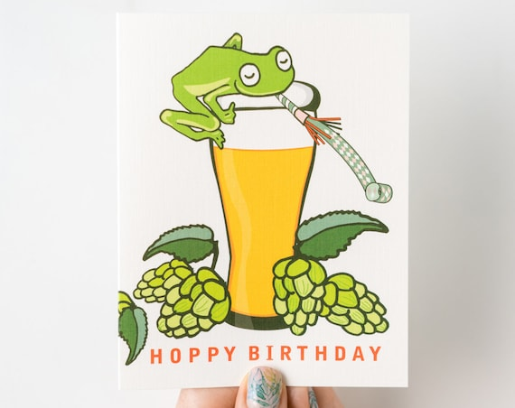 Hoppy Birthday Frog Beer Cheers Birthday Celebratory Greeting Card