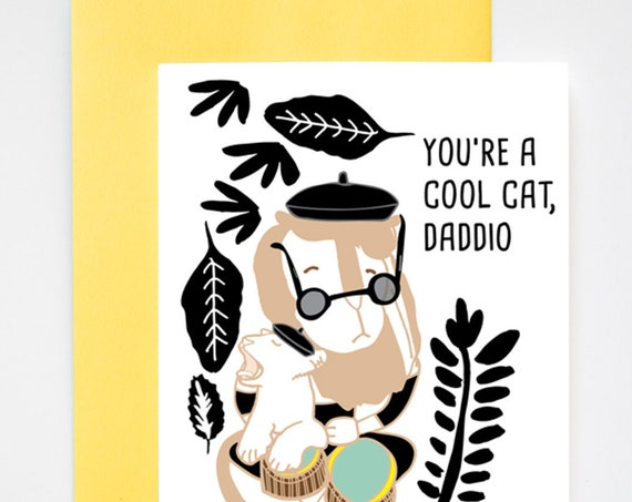 Cool Cat Daddio Lion Father's Day and/or Dad's Birthday Card