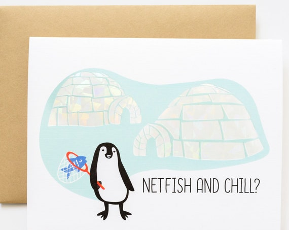 Netflix (Netfish) and Chill Penguin Valentine Holographic Foil Love Greeting Card