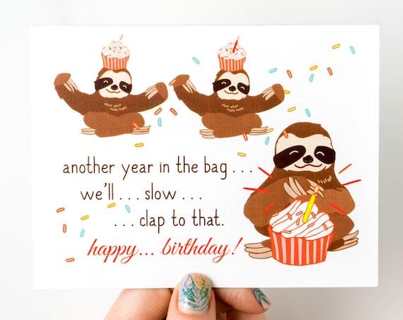 Slow Clap Sloths and Cupcakes Congrats Birthday Greeting Card