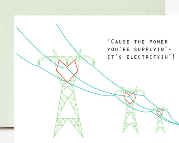 Electrifying Power Line Love Greeting Card