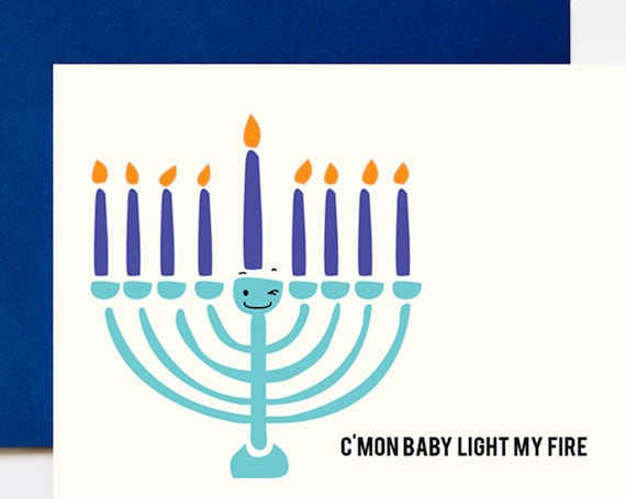 Light My Fire Menorah Hanukkah A2 Greeting Card