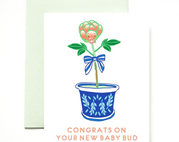 Congrats Baby Bud Greeting Card