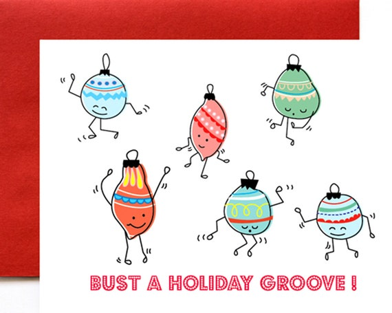 Bust a Holiday Groove A2 Christmas Card