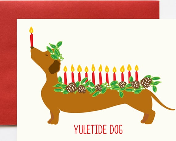 Yuletide Dog (Log) Christmas A2 Greeting Card