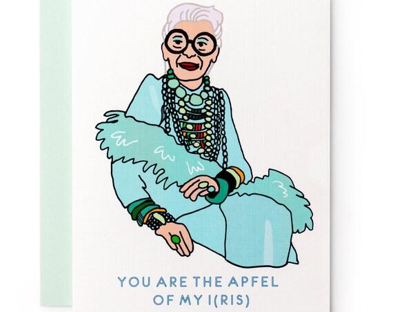 Apfel of My I(ris) Apple of My Eye Iris Apfel Punny Greeting Card