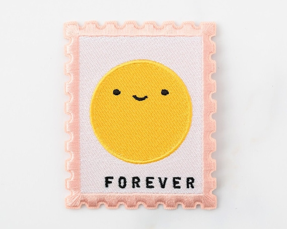NEW ** Happy Mail Forever Stamp Iron-On or Sticker! Embroidered Patch