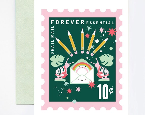 LIMITED EDITION Snail Mail Forever Essential Stationery Love A2 Greeting Card