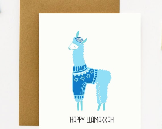 Happy Llamakkah Llama Greeting Card